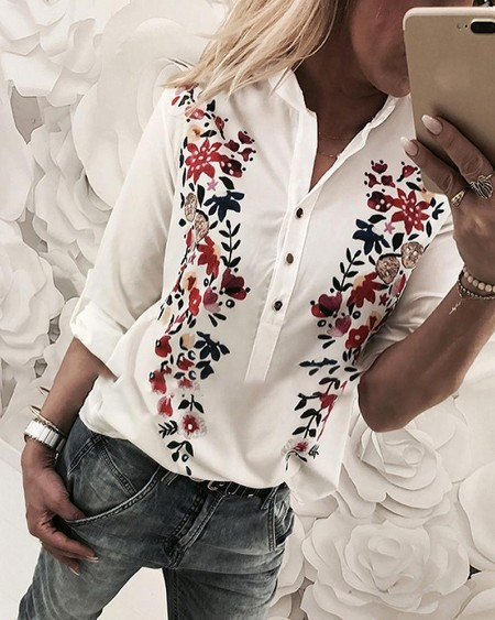 Floral Print Stand Collar Casual Shirt