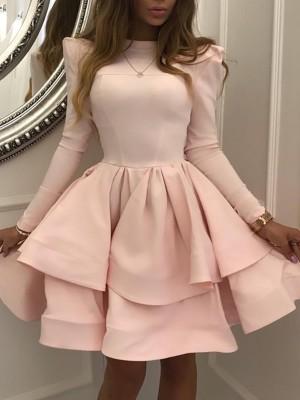 Solid Puff Sleeve Layered Pleated Mini Dress