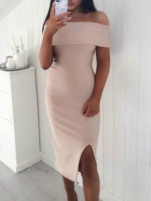 Fold Over Off Shoulder Slit Midi Dress