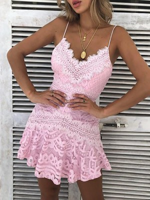 Solid Crochet Lace Hollow Out Slip Dress