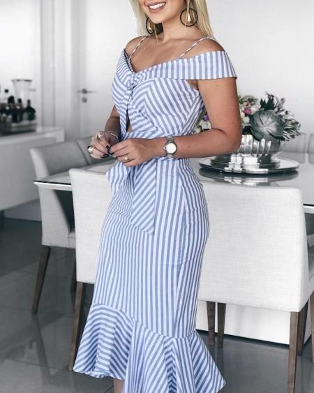Cold Shoulder Striped Pep Hem Dress