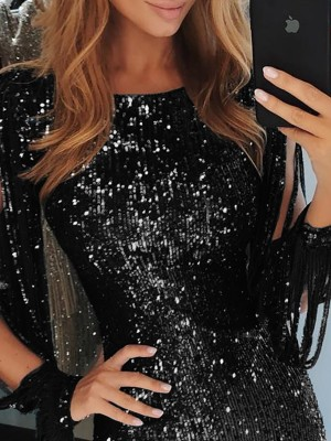 Tassel Detail Sequin Party Dress