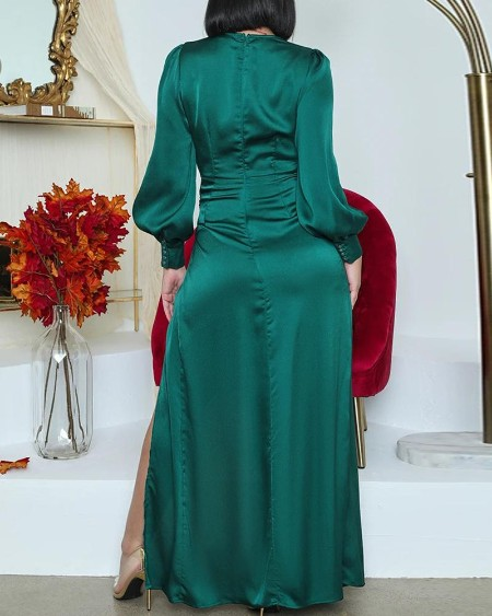 Lantern Sleeve High Slit Wrap Maxi Dress