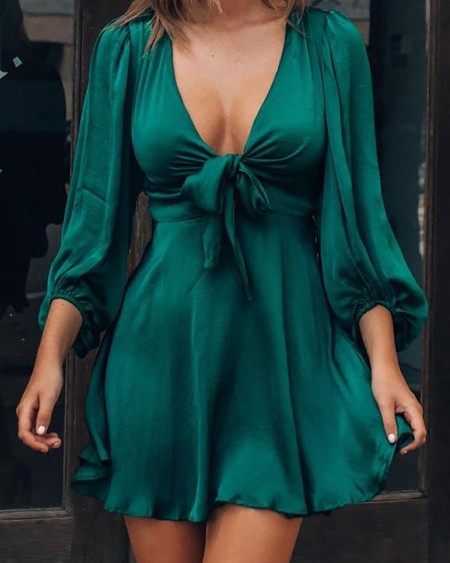 Puff Sleeve Plunge Tie Front Dress