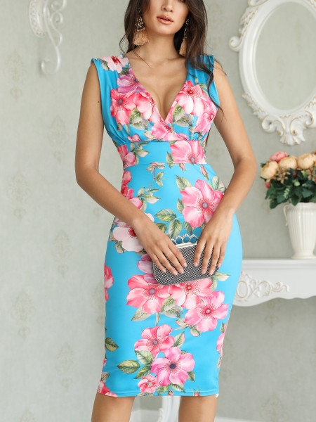 Floral Print V Neck Wrap Midi Dress