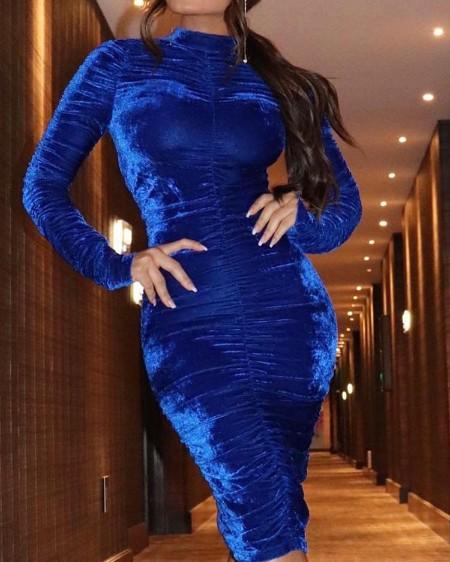 Velvet Mock Neck Ruched Bodycon Dress