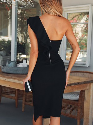 Solid One Shoulder Ruffles Trim Slit Bodycon Dress
