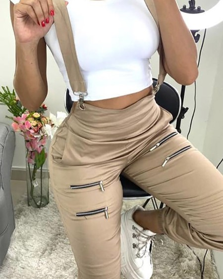 Zip Pocket Design Solid Suspender Pants