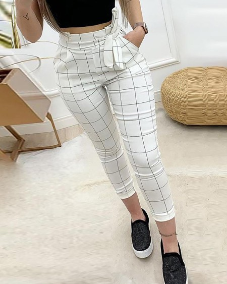 boutiquefeel / High Waist Grid Paperbag Waist Casual Pants