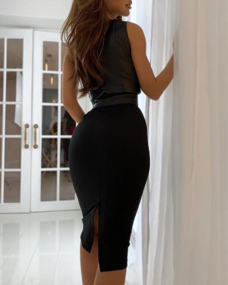 Plain Thick Strap Slit PU Leather Dress
