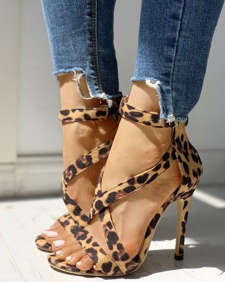 8747d8aaf13 ... Leopard Crisscross Zipper Back Thin Heeled Sandals