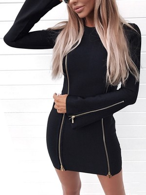 Sexy Zipper Long Sleeve Bodycon Mini Dress
