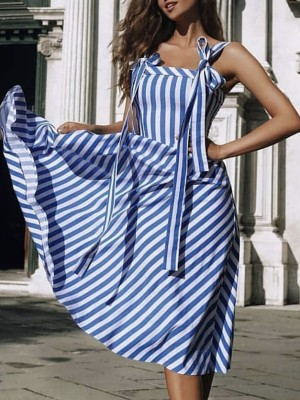 Striped Tied Shoulder Casaul Dress