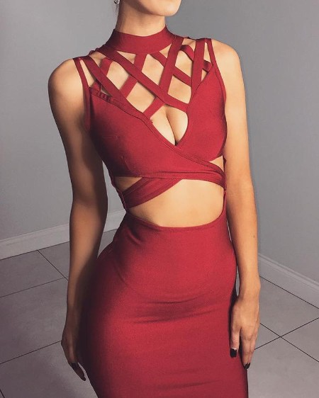 Sexy Cut Out Crisscross Cocktail Party Bodycon Dress
