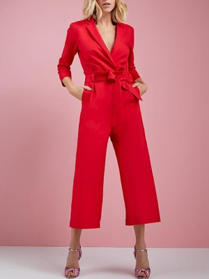 Long Sleeve Wrapped Wide Leg Jumpsuit With Belt