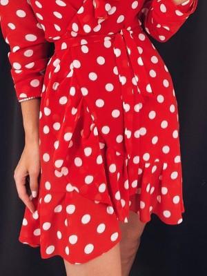 Polka Dots Ruffles Detail Belted Wrap Dress