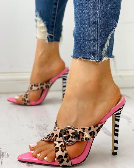 boutiquefeel / Leopard Crisscross Buckle Thin Heeled Sandals