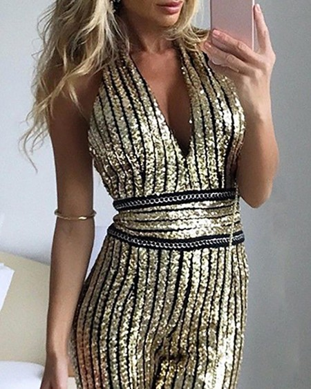 Glitter Plunge Sleeveless Striped Sequins Jumpsuit