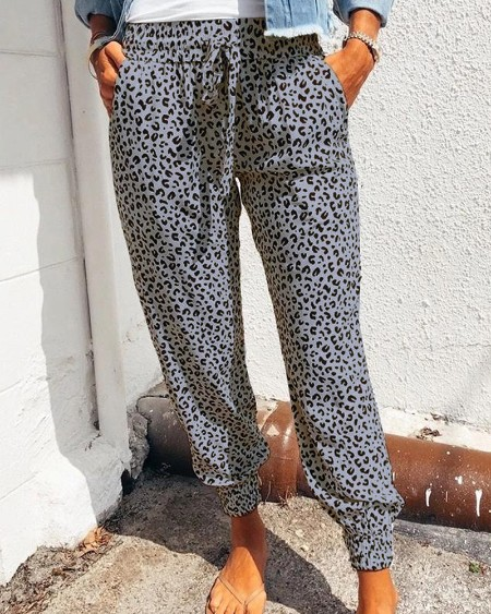 High Waist Leopard Print Drawstring Pants