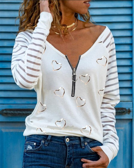 Sheer Mesh Zipper Design Long Sleeve Top