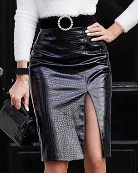 boutiquefeel / Faux Leather Slit Midi Skirt