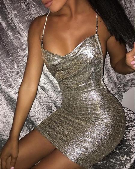 Sequined Bodycon Strappy Mini Dress