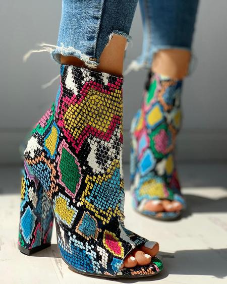 boutiquefeel / Colorful Snakeskin Chunky Heeled Boots