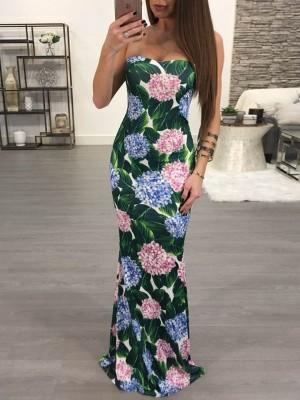 Fashion Floral Strapless Crisscross Back Maxi Dress