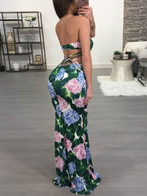 Fashion Floral Strapless Crisscross Back Maxi Dress
