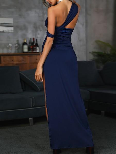 Ruched High Slit Evening Dress