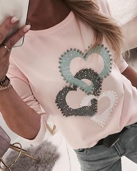 Beaded Heart Print Round Neck Long Sleeve T-shirt