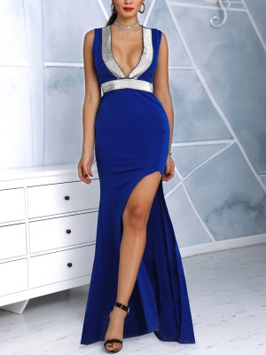 Glitter Insert Plunge Thigh Slit Evening Dress
