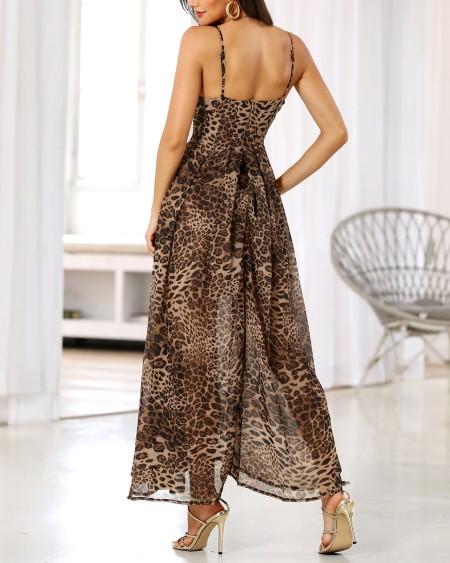 Spaghetti Strap Leopard Print Maxi Dress
