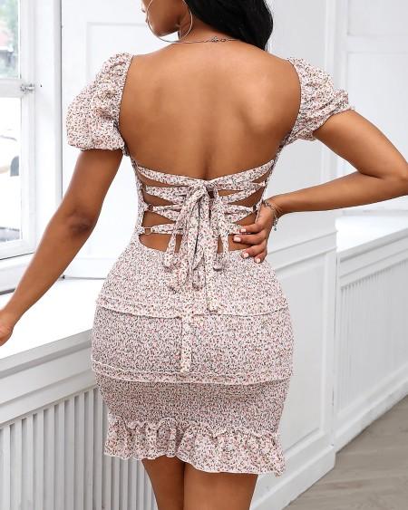 Floral Bandage Backless Frill Hem Shirring Design Dress