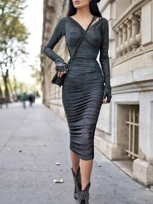 Glitter V-Neck Wrap Ruched Design Dress