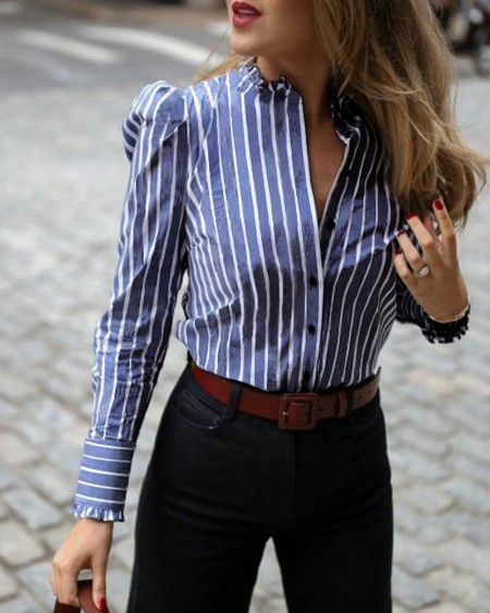 Striped Puffed Sleeve Frill Hem Casual Blouse