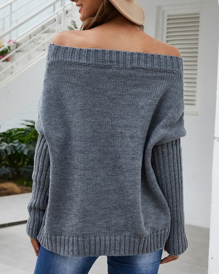 Plain Batwing Sleeve Long Sleeve Knit Sweater