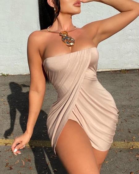 Bandeau Slit Ruched Bodycon Dress