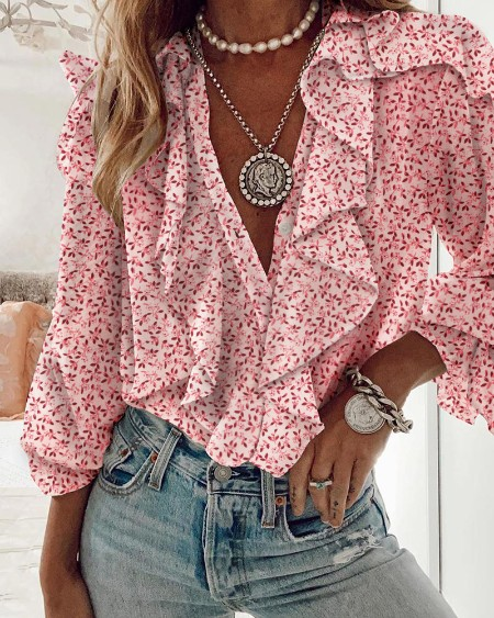 Floral Print Ruffles Long Sleeve Top