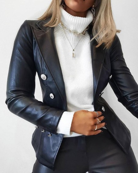 Double Breasted Faux Leather Coat