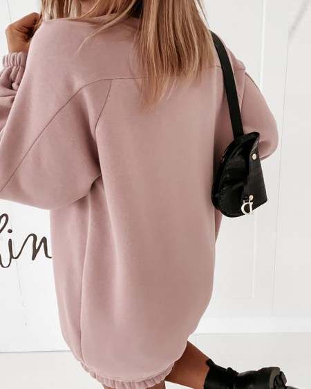 Plain Ruched Long Sleeve Casual Sweatshirt Dress