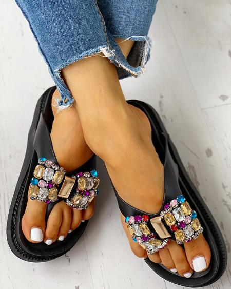 boutiquefeel / Studded Bowknot Toe Post Flat Sandals