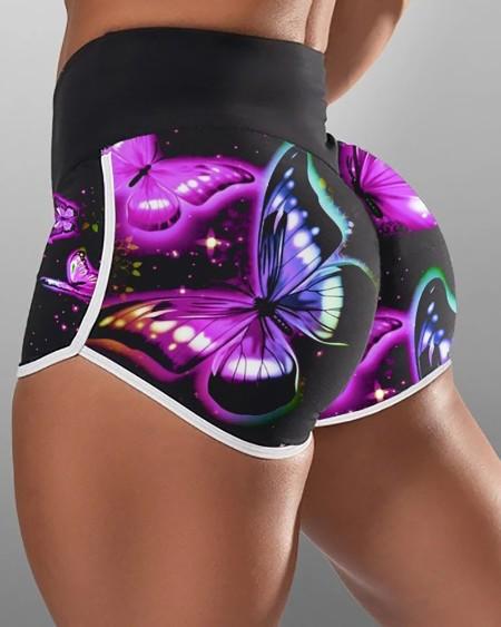 Butterfly Print High Waist Active Shorts