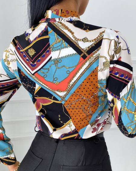 Scarf Chain Print Tie Front Long Sleeve Shirt