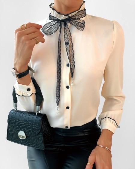 Tie Detail Ruffles Hem Button Design Shirt