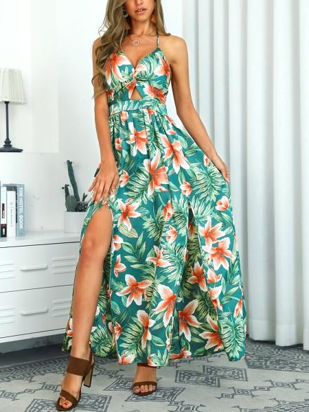 Halter Floral Print Spaghetti Strap Slit Dress