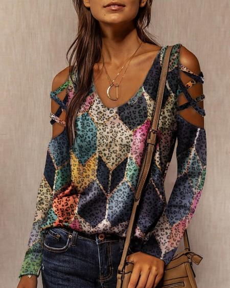 Cutout Leopard Print Long Sleeve T-shirt