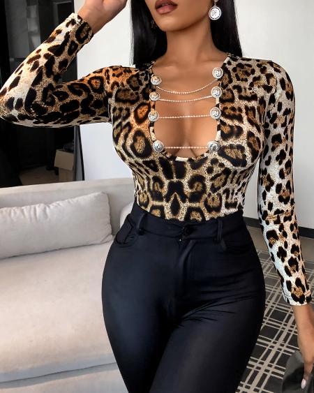 Cheetah Print Cutout Button Design Top