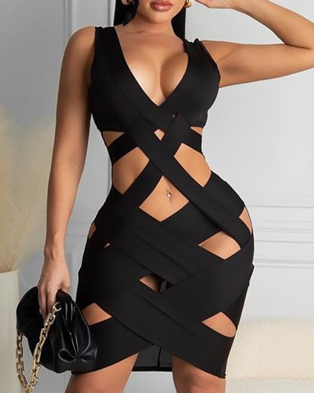 Plain Cutout Sleeveless Bodycon Dress