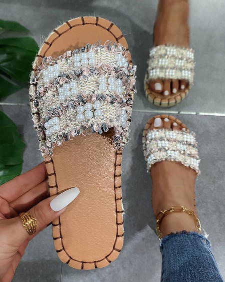 Woven Upper Cut-out Round-toe Flat Sandals Slippers